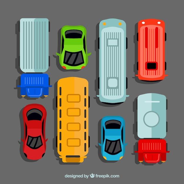 Сбор плоских автомобилей с автобусами Бесплатные векторы