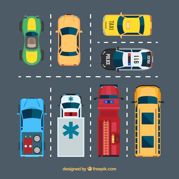 駐車場のフラットカーコレクション 無料ベクター
