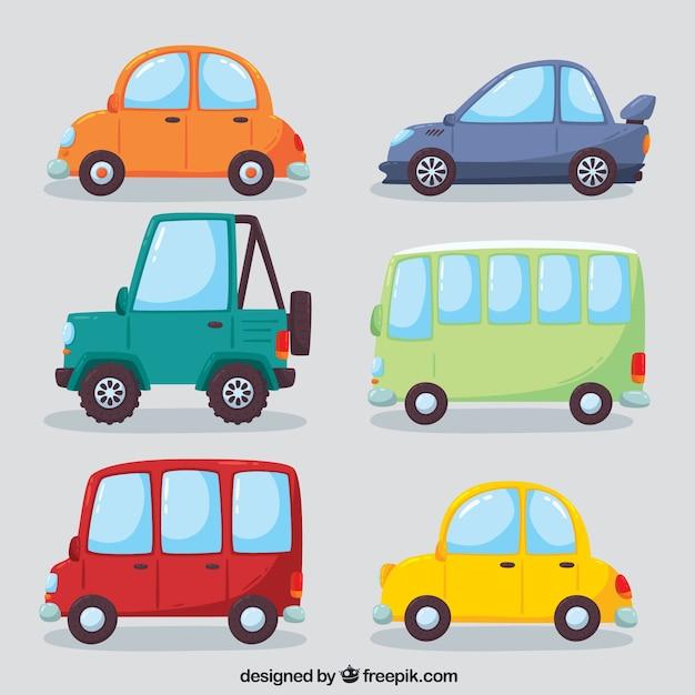 Красочное разнообразие современных автомобилей Бесплатные векторы