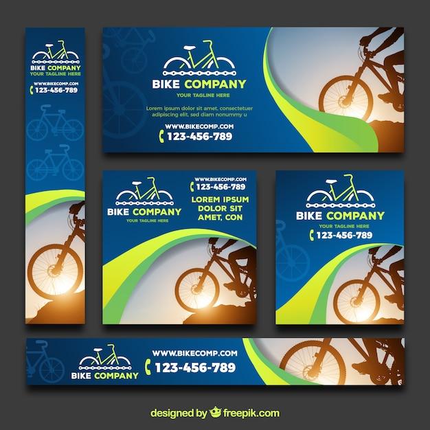 Современный пакет баннеров с велосипедами Бесплатные векторы