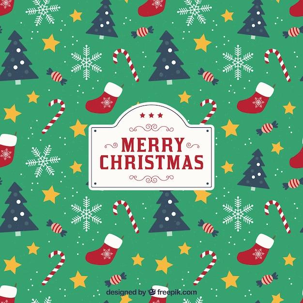パターンのスタイルでクリスマスの背景 無料ベクター