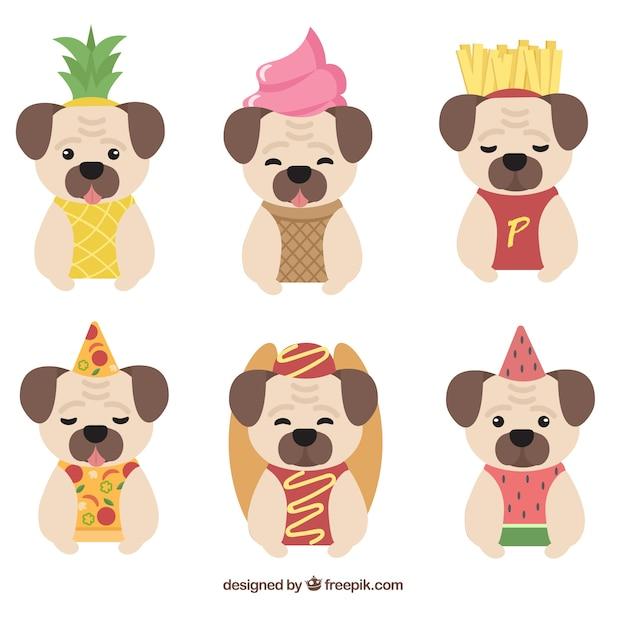 Веселые мопсы с костюмами для еды Бесплатные векторы