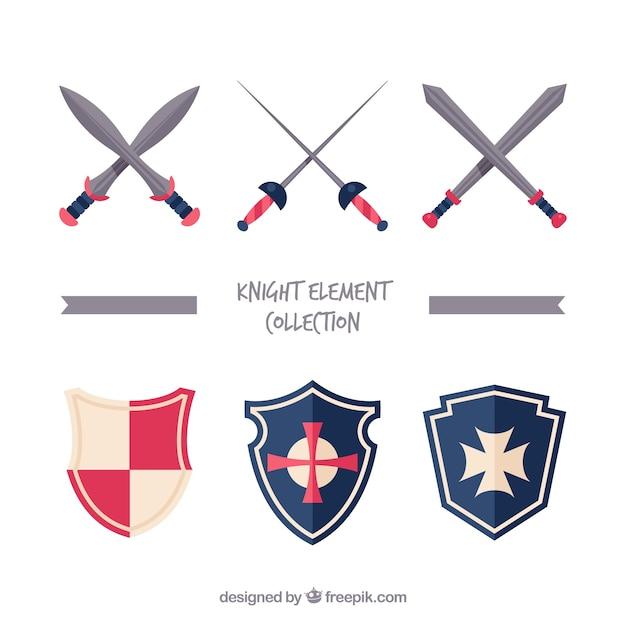 Плоское разнообразие мечей и щитов Бесплатные векторы