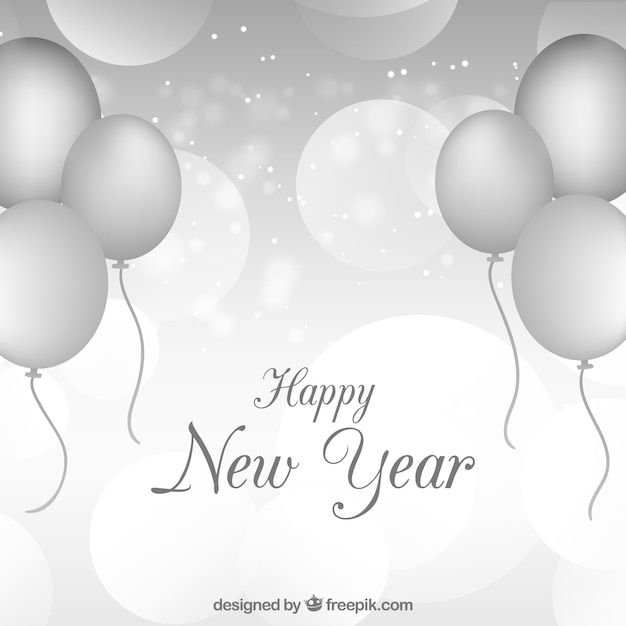 С новым годом серебристый фон с серебряными шарами Бесплатные векторы