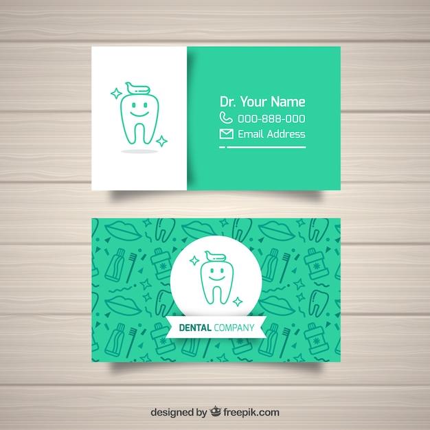 歯医者名刺テンプレート 無料ベクター