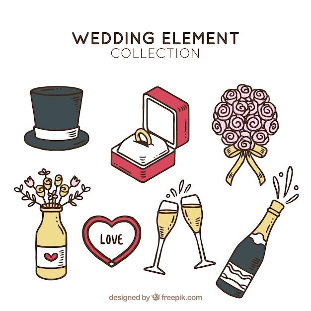 Ручной набор свадебных элементов Бесплатные векторы