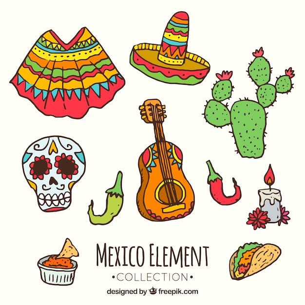 カラフルなメキシコの要素コレクション 無料ベクター