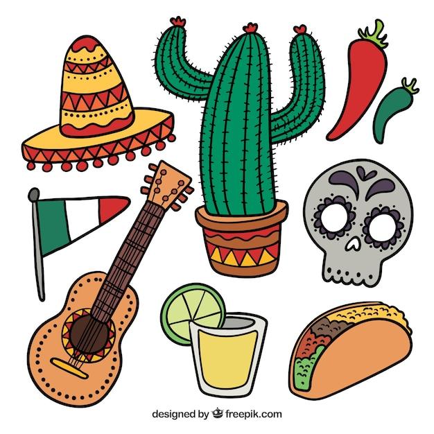 Цветные мексиканские элементы Бесплатные векторы