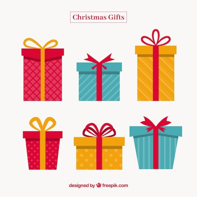 フラットデザインでクリスマスギフトセット 無料ベクター