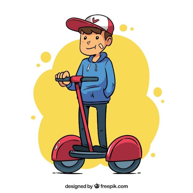 フラットな男/女性乗馬電動スクーター 無料ベクター