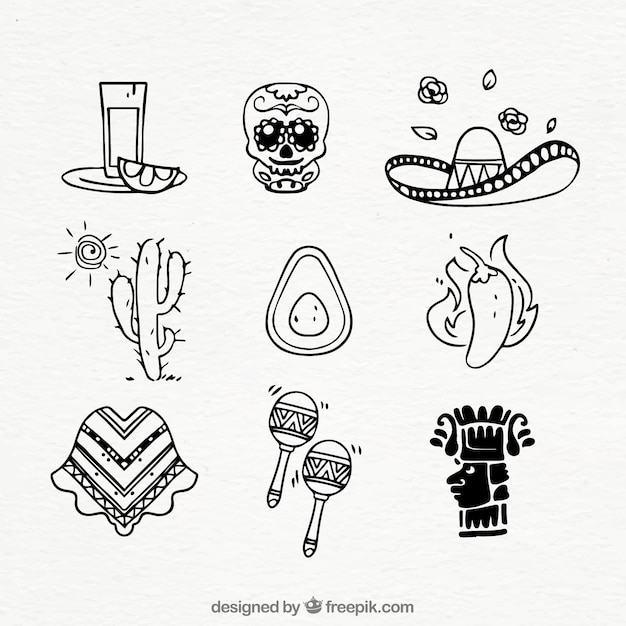 メキシコの要素コレクション 無料ベクター