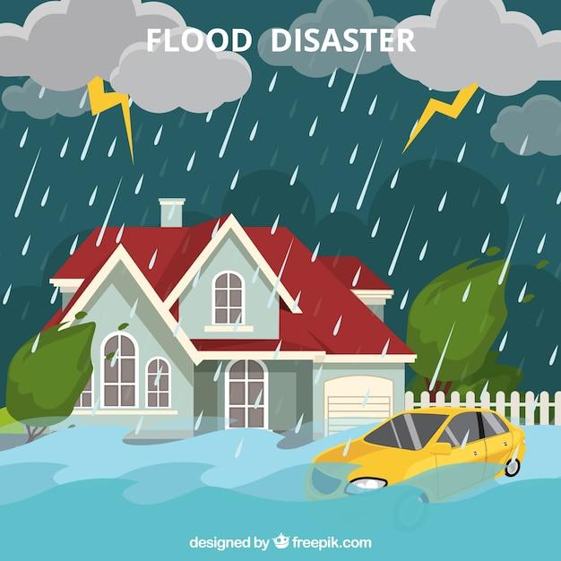 洪水災害のデザイン 無料ベクター