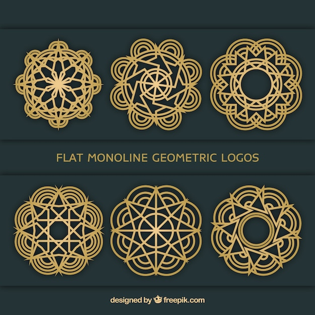 Коллекция геометрических логотипов монолинии Бесплатные векторы