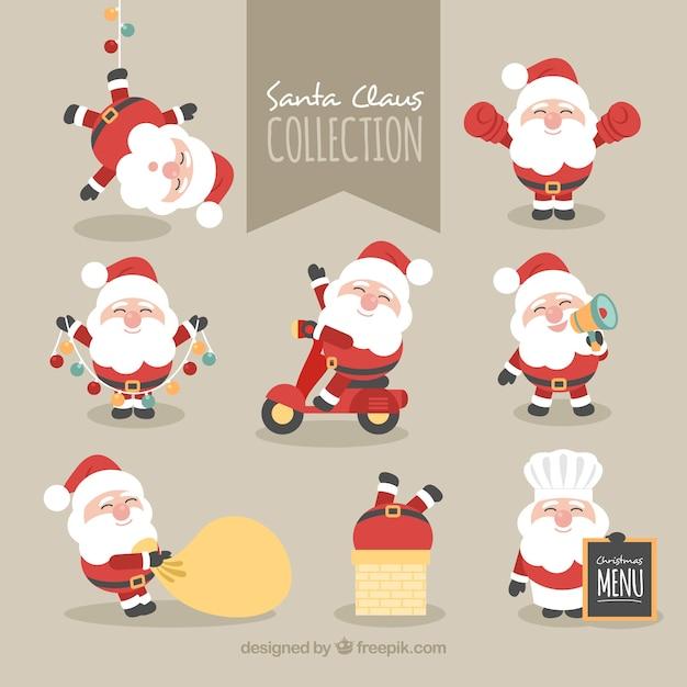 サンタクロースの素敵なキャラクターのコレクション 無料ベクター