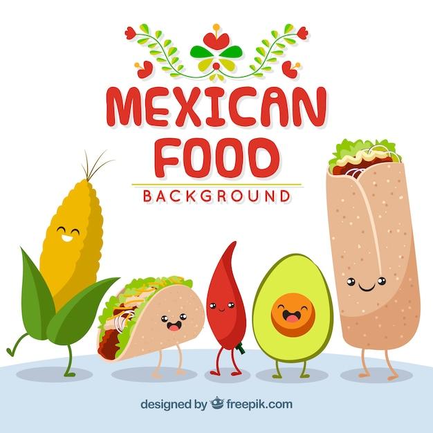 フラットメキシコ料理の背景 無料ベクター