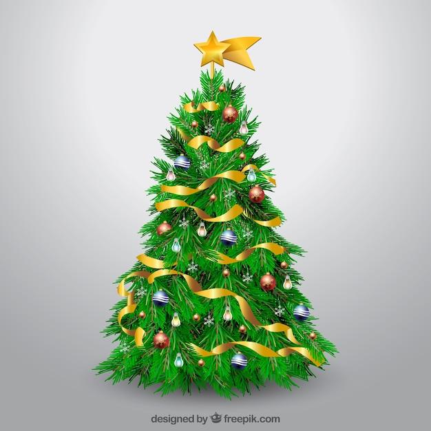 現実的な装飾クリスマスツリー 無料ベクター