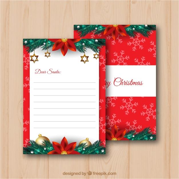 クリスマスの装飾とサンタの手紙のテンプレート ベクター画像 無料