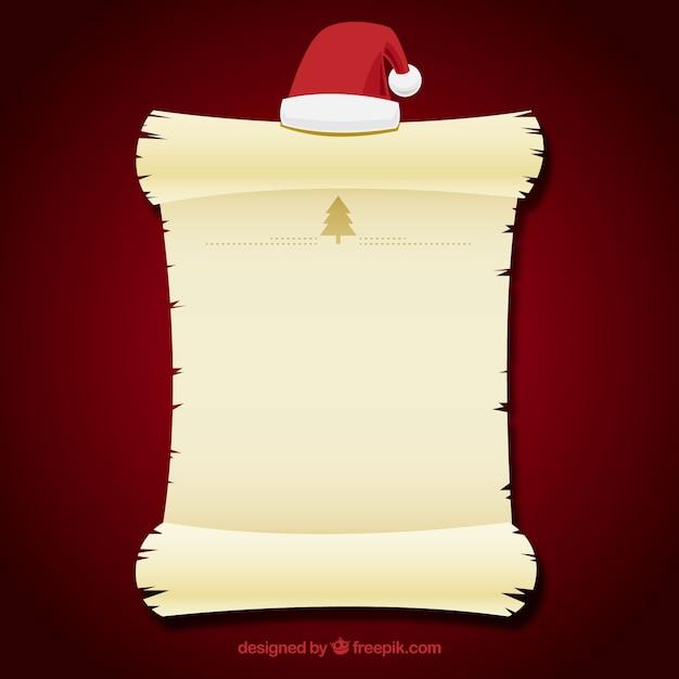 サンタの帽子を入れた手紙テンプレート ベクター画像 無料ダウンロード