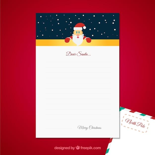 親愛なるサンタの手紙テンプレート ベクター画像 無料ダウンロード