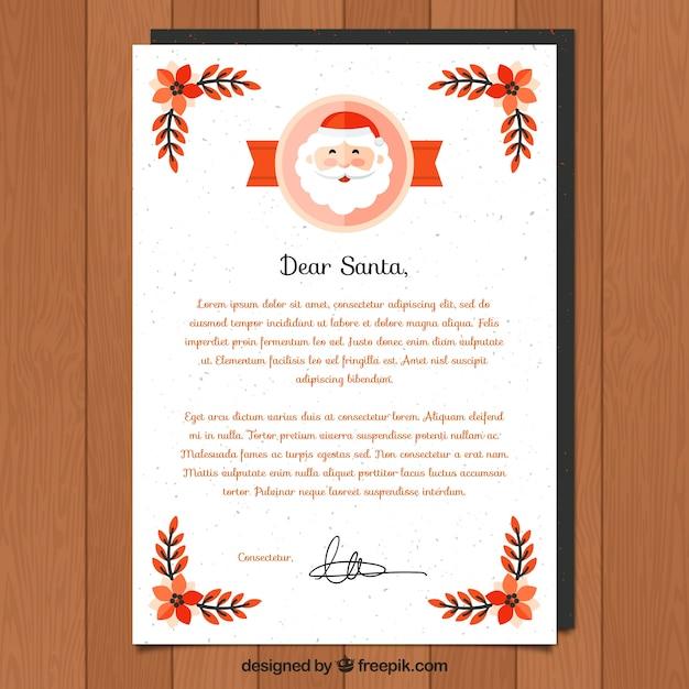 親愛なるクリスマスのサンタの手紙テンプレート ベクター画像 無料