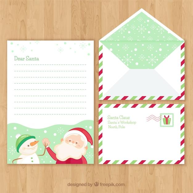 クリスマスセットの手紙と封筒のテンプレートとサンタクロースと雪だるま
