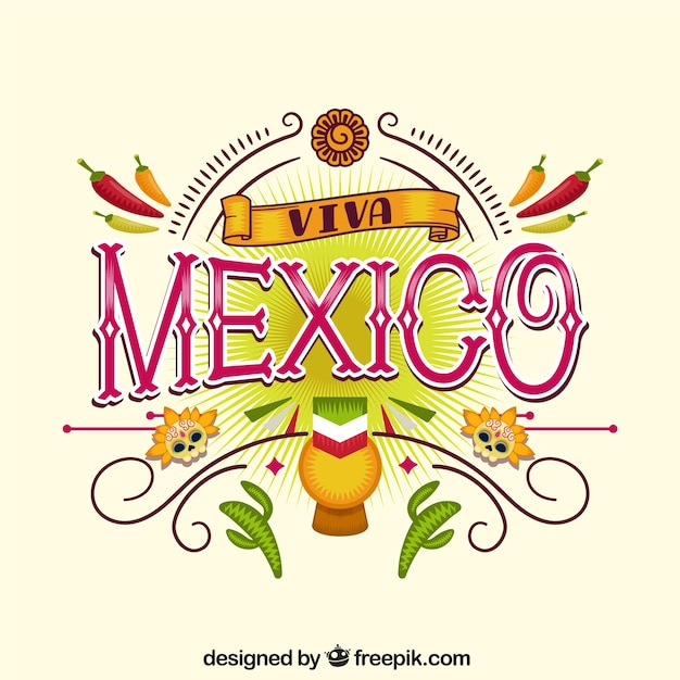 エレガントなビバ・メキシコ・レタリングの背景 無料ベクター