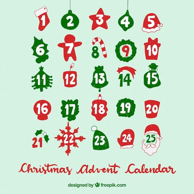 ターコイズの背景にクリスマスアドベントカレンダー 無料ベクター