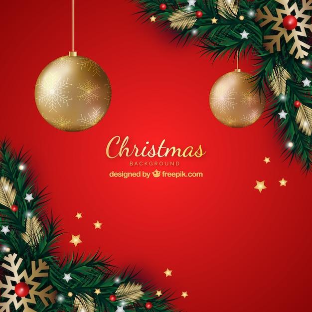 クリスマスの装飾と赤の背景 無料ベクター