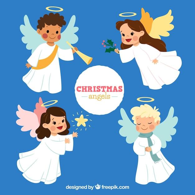 Коллекция милых рождественских ангелов Бесплатные векторы