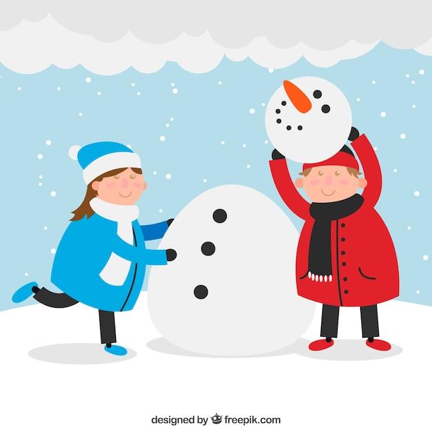 Снеговика катают картинка