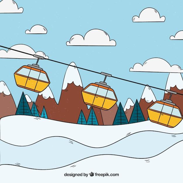 手描きのスキー場 無料ベクター