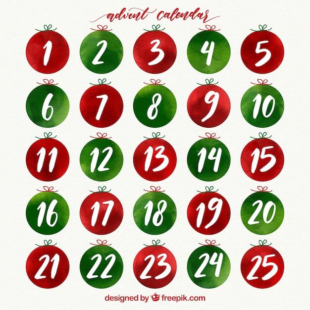 緑と赤の水彩の出現カレンダー 無料ベクター