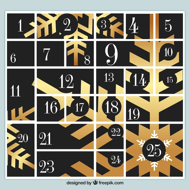 ゴールデンスノーフレークのアドベントカレンダー 無料ベクター