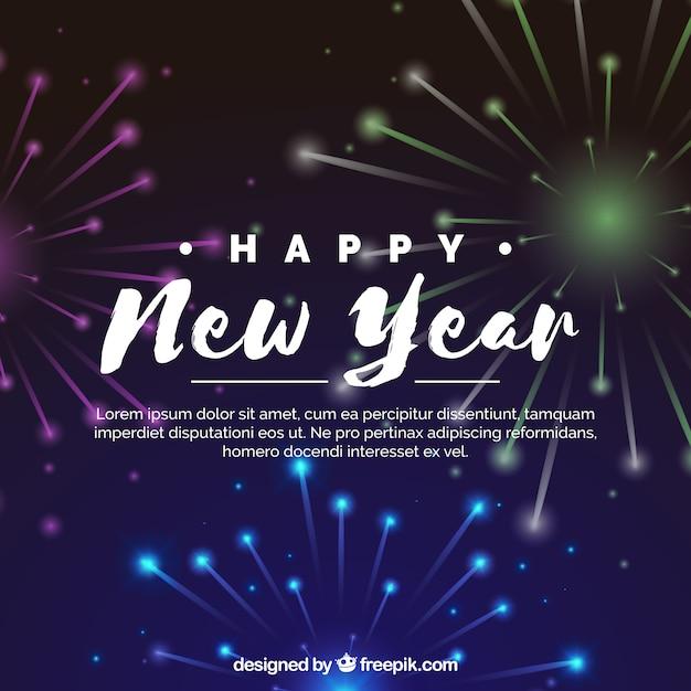 新年の祝い花火の背景 無料ベクター