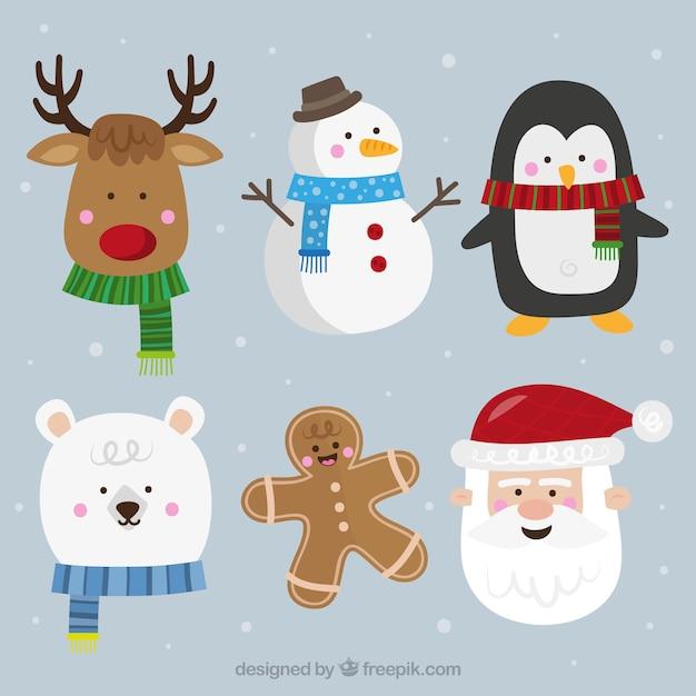 フラットデザインの典型的なクリスマスキャラクターのコレクション 無料ベクター