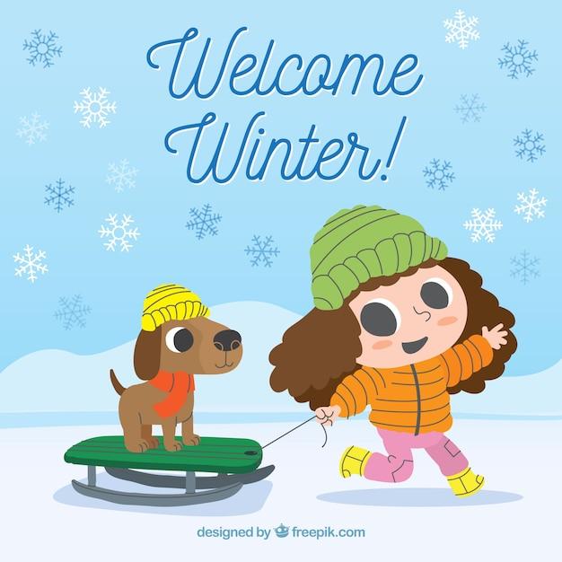 Приветственный зимний фон с девушкой и ее собакой Бесплатные векторы