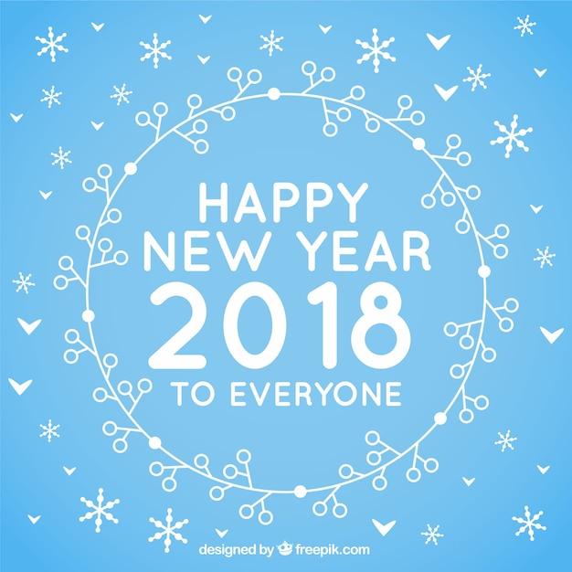誰もが青い平らな背景幸せな新年 無料ベクター