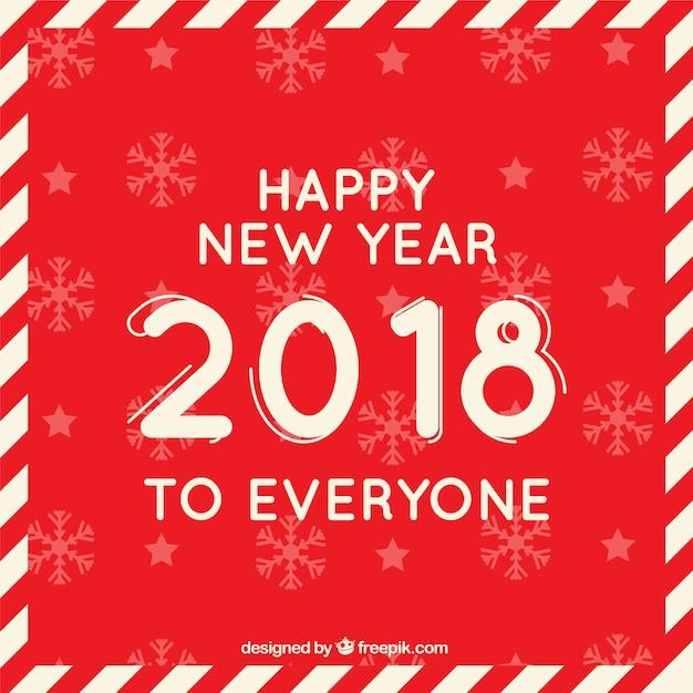 赤い平らな背景の誰もが幸せな新年 無料ベクター