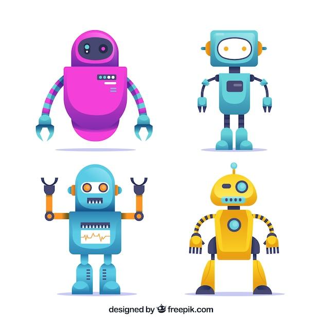 フラットロボットキャラクタコレクション 無料ベクター