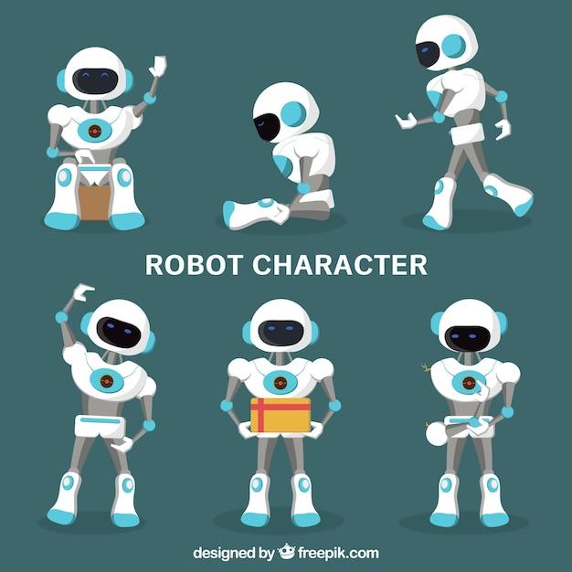 異なるポーズコレクションを持つフラットロボットキャラクター 無料ベクター