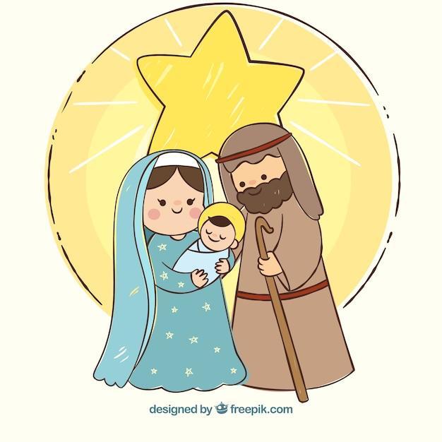 出生シーンでクリスマスの背景 無料ベクター