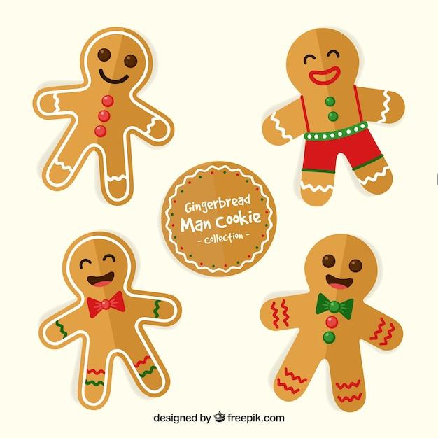 幸せなジンジャーブレッドマンクッキーのセット 無料ベクター