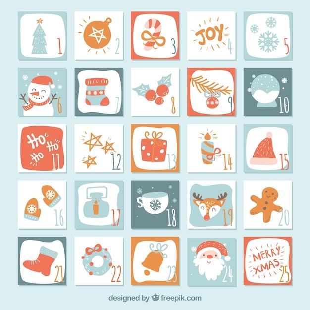 かわいいアドベントカレンダー 無料ベクター