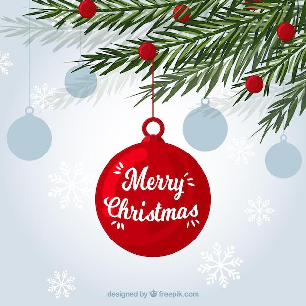 Симпатичный фон из листьев и рождественские украшения Бесплатные векторы