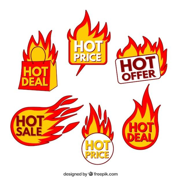 Продажа пожарной этикетки / коллекции значков Бесплатные векторы