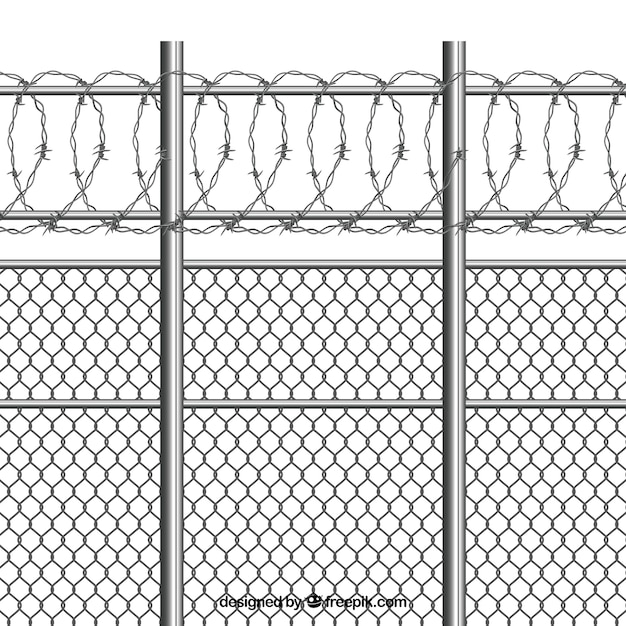 有刺鉄線のシルバーメタルフェンス 無料ベクター