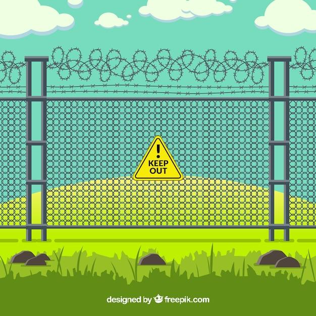 Металлический забор с колючей проволокой в зеленом ландшафте Бесплатные векторы