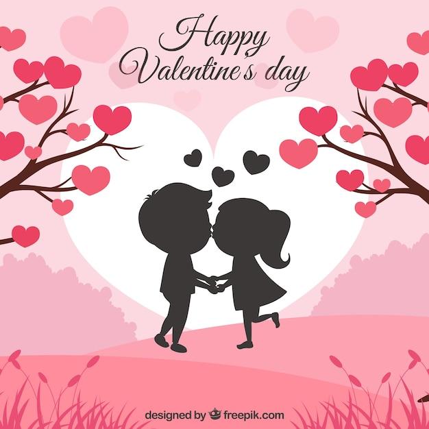 カップルのキスをするバレンタインデーの背景 無料ベクター