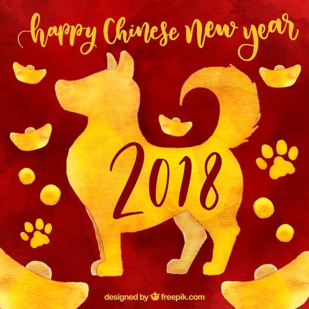 水彩中国の新年の背景 無料ベクター