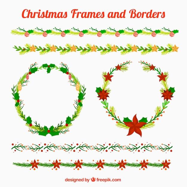 Красивые рождественские рамки и границы Бесплатные векторы